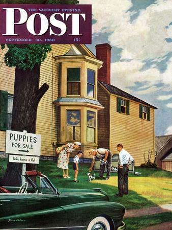 """""""Picking a Puppy"""" Saturday Evening Post Cover, September 30, 1950"""