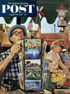 """""""Postcards"""" Saturday Evening Post Cover, August 25, 1951 by Stevan Dohanos"""