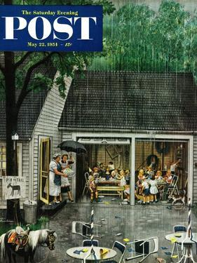 """""""Rain-out Birthday Party"""" Saturday Evening Post Cover, May 22, 1954 by Stevan Dohanos"""