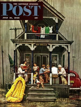 """""""Rainy Day at Beach Rental,"""" Saturday Evening Post Cover, July 31, 1948 by Stevan Dohanos"""