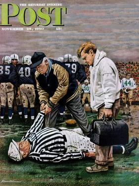 """""""Ref Out Cold"""" Saturday Evening Post Cover, November 25, 1950 by Stevan Dohanos"""