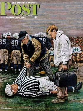 """Ref Out Cold"" Saturday Evening Post Cover, November 25, 1950 by Stevan Dohanos"