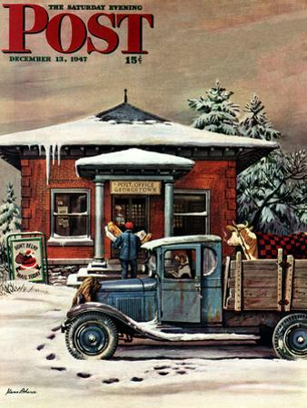 """Rural Post Office at Christmas,"" Saturday Evening Post Cover, December 13, 1947 by Stevan Dohanos"