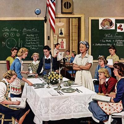 """""""Setting the Table"""", February 16, 1957 by Stevan Dohanos"""
