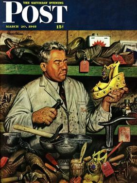 """""""Shoe Repairman,"""" Saturday Evening Post Cover, March 20, 1948 by Stevan Dohanos"""
