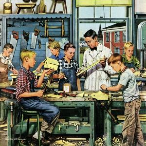 """""""Shop Class"""", March 19, 1955 by Stevan Dohanos"""