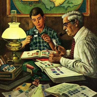 """Stamp Collecting"", February 27, 1954 by Stevan Dohanos"