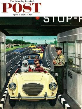 """""""Stop and Pay Toll"""" Saturday Evening Post Cover, April 7, 1956 by Stevan Dohanos"""
