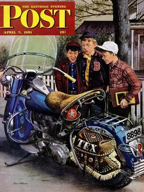 """Tex's Motorcycle"" Saturday Evening Post Cover, April 7, 1951 by Stevan Dohanos"