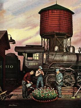 """""""Trainyard Flower Garden,"""" August 9, 1947 by Stevan Dohanos"""