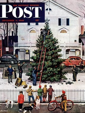 """""""Tree in Town Square,"""" Saturday Evening Post Cover, December 4, 1948"""