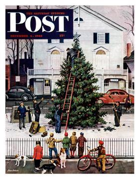 """Tree in Town Square,"" Saturday Evening Post Cover, December 4, 1948 by Stevan Dohanos"