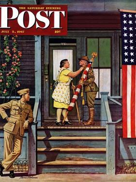 """Two Generations of Vets,"" Saturday Evening Post Cover, July 5, 1947 by Stevan Dohanos"