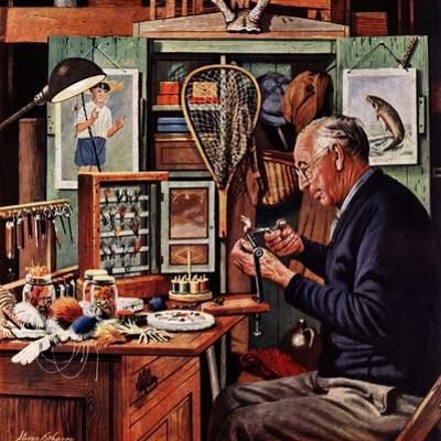 """Tying Flies"", March 4, 1950 by Stevan Dohanos"
