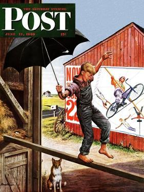 """Walking the Tightrope,"" Saturday Evening Post Cover, June 11, 1949 by Stevan Dohanos"
