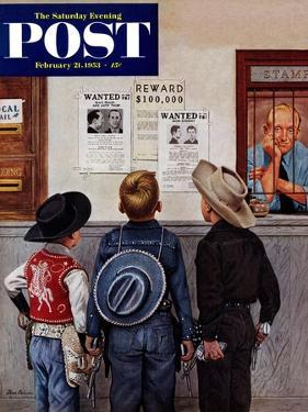 """""""Wanted Posters"""" Saturday Evening Post Cover, February 21, 1953 by Stevan Dohanos"""