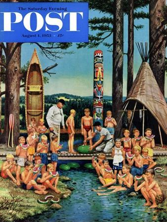 """Watermelon at Camp"" Saturday Evening Post Cover, August 1, 1953 by Stevan Dohanos"