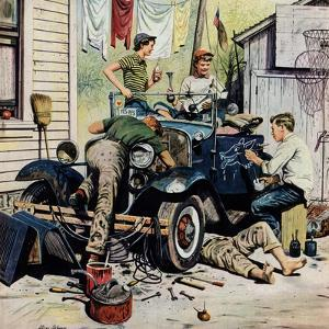 """""""Working on the Jalopy"""", May 20, 1950 by Stevan Dohanos"""