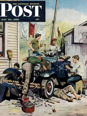 """""""Working on the Jalopy"""" Saturday Evening Post Cover, May 20, 1950 by Stevan Dohanos"""