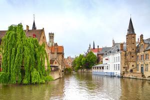 Bruges or Brugge, Rozenhoedkaai Water Canal View. Belgium. by stevanzz