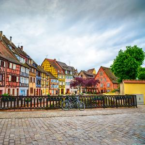 Colmar, Petit Venice, Bridge, Bike and Traditional Houses. Alsace, France. by stevanzz