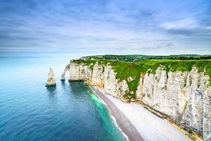 Etretat Aval Cliff, Rocks and Natural Arch Landmark and Blue Ocean. Aerial View. Normandy, France, by stevanzz