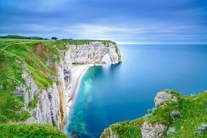 Etretat, La Manneporte Natural Rock Arch Wonder, Cliff and Beach. Long Exposure Photography. Norman by stevanzz
