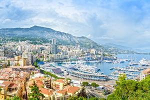 Monaco Montecarlo Principality Aerial View Cityscape. Azure Coast. France by stevanzz