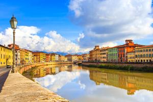 Pisa, Arno River, Lamp and Buildings Reflection. Lungarno View. Tuscany, Italy by stevanzz