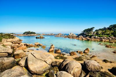Ploumanach, Rocks and Bay Beach in Morning. Pink Granite Coast, Perros Guirec, Brittany, France by stevanzz