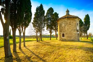 San Guido Oratorio Church and Cypress Trees. Maremma, Tuscany, Italy, Europe by stevanzz