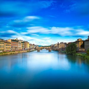 Santa Trinita and Old Bridge on Arno River, Sunset Landscape. Florence or Firenze, Italy. by stevanzz