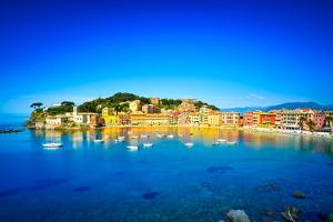 Sestri Levante, Silence Bay Sea Harbor and Beach View. Liguria, Italy by stevanzz