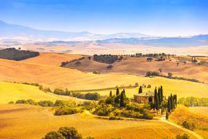 Tuscany, Farmland and Cypress Trees, Green Fields. San Quirico Orcia, Italy. by stevanzz