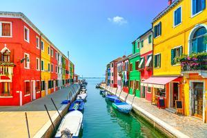 Venice Landmark, Burano Island Canal, Colorful Houses and Boats, Italy. Long Exposure Photography by stevanzz