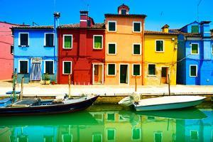 Venice Landmark, Burano Island Canal, Colorful Houses and Boats, Italy by stevanzz
