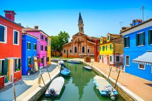 Venice Landmark, Burano Island Canal, Colorful Houses, Church and Boats, Italy by stevanzz