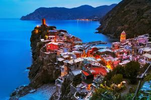 Vernazza Village, Aerial View on Sunset, Seascape in Five Lands, Cinque Terre National Park, Liguri by stevanzz