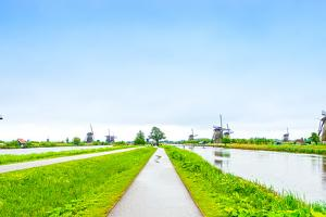 Windmills and Canals in Kinderdijk, Holland or Netherlands. Unesco Site by stevanzz