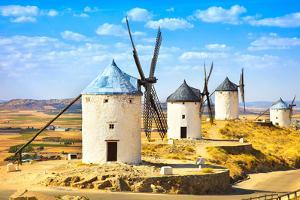 Windmills of Don Quixote in Consuegra. Castile La Mancha, Spain by stevanzz