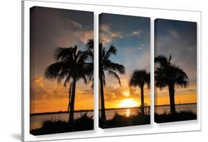 Tropical Sunset, 3 Piece Gallery-Wrapped Canvas Set by Steve Ainsworth