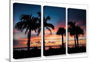 Tropical Sunset Ii, 3 Piece Gallery-Wrapped Canvas Set by Steve Ainsworth