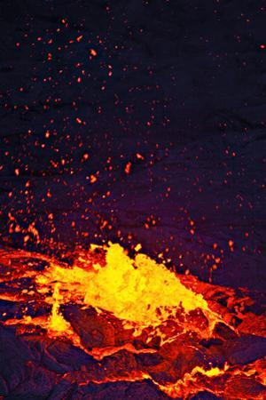 A Lava Bubble Bursts in an Active Lava Lake on Kilauea Volcano by Steve And Donna O'Meara