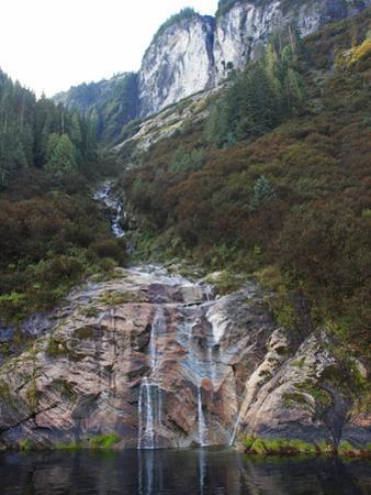 Glacier-Carved Granite Slab Waterfall on the Shores of Rudyerd Bay