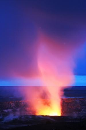 Lava Steam Plume Over Erupting Crater Summit Lava Lake and Vent At Dawn