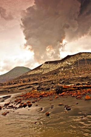 Tavurvur, a 2,257-foot-high Stratovolcano Erupting Ash and Steam