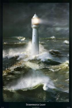 Lighthouse and Stormy Sea by Steve Bloom