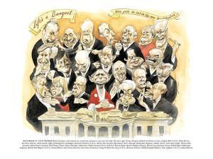 Life's a Banquet'-'Who gets to eat in the new Washington' - New Yorker Cartoon by Steve Brodner