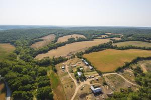 Aerial View of Farm Fields and Trees in Mid-West Missouri Early Morning by Steve Collender