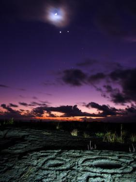 Crescent Moon and Corona, Venus, Jupiter, and Petroglyphs in Lava Rock by Steve & Donna O'Meara